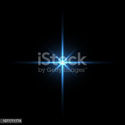 istock Blue light star on black background 1071711774