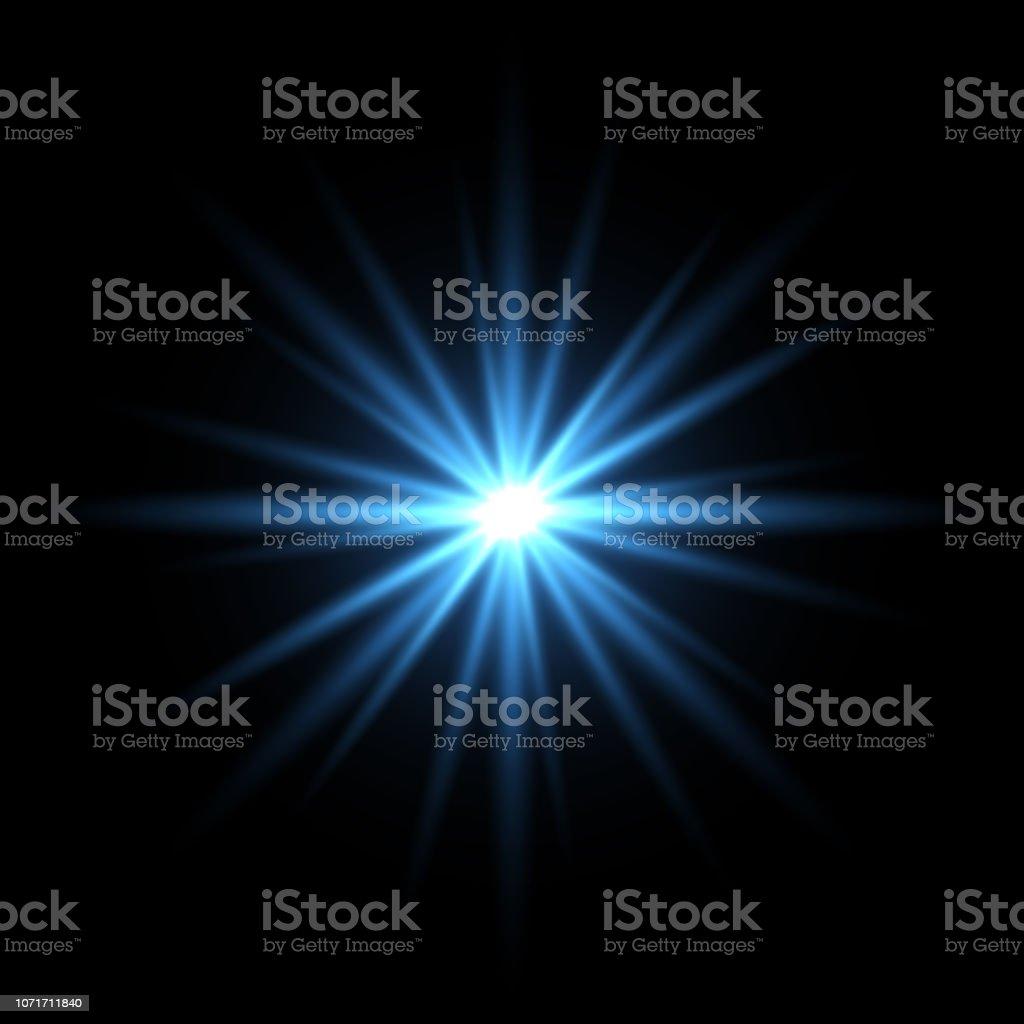 Blue light star on black background - Векторная графика Ёлочные игрушки роялти-фри