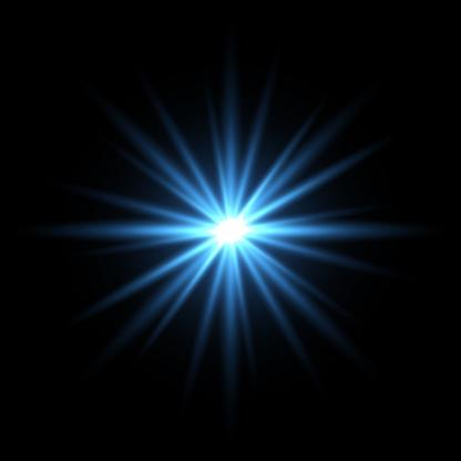 Blue light star on black background