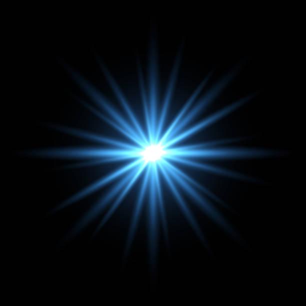 검은 바탕에 블루 라이트 스타 - 밝은 빛 stock illustrations
