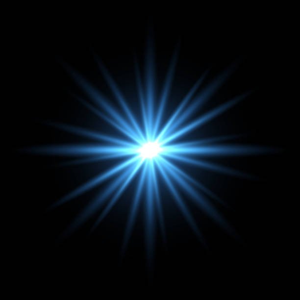 blue light star on black background - spark stock illustrations