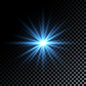 Blue light star on dark transparent background