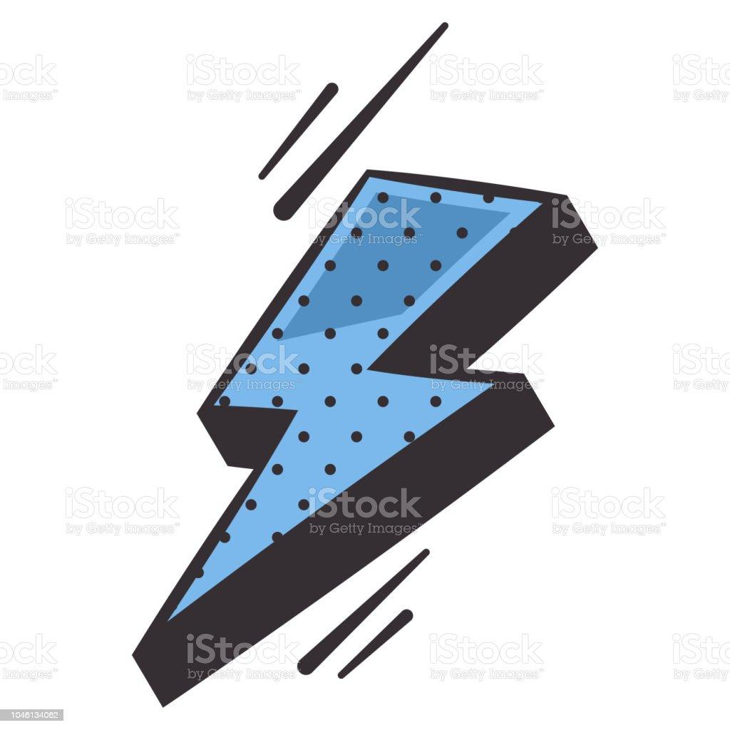 élément De Bande Dessinée Flash éclair Bleu Icône De Dessin