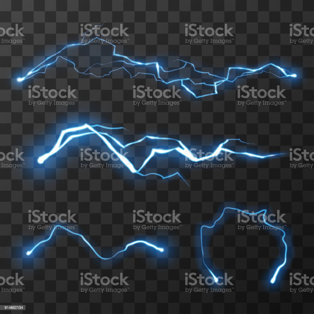 Blue lightnings set vector art illustration