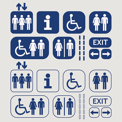 Blue line and silhouette Man and Woman public access icons set on gray background