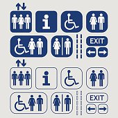 Blue line and silhouette public access icons