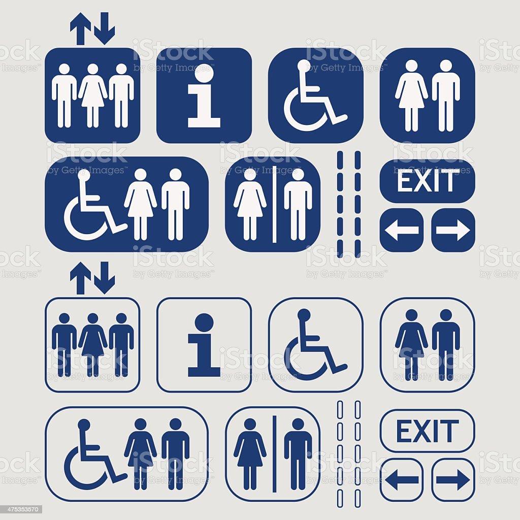 Blue line und silhouette öffentlichen Zugang Symbole – Vektorgrafik