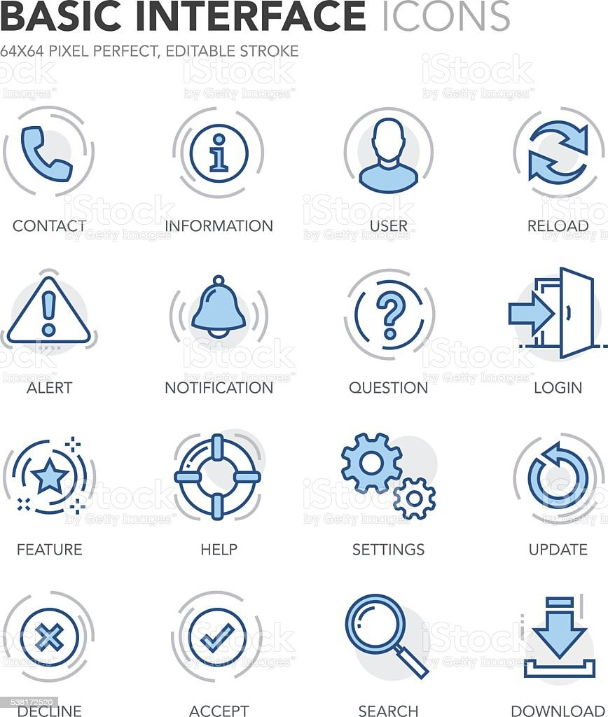 Blue Line Basic Interface Icons vector art illustration