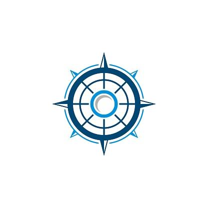 Blue Line Compass Rose  Template Illustration Design. Vector EPS 10.