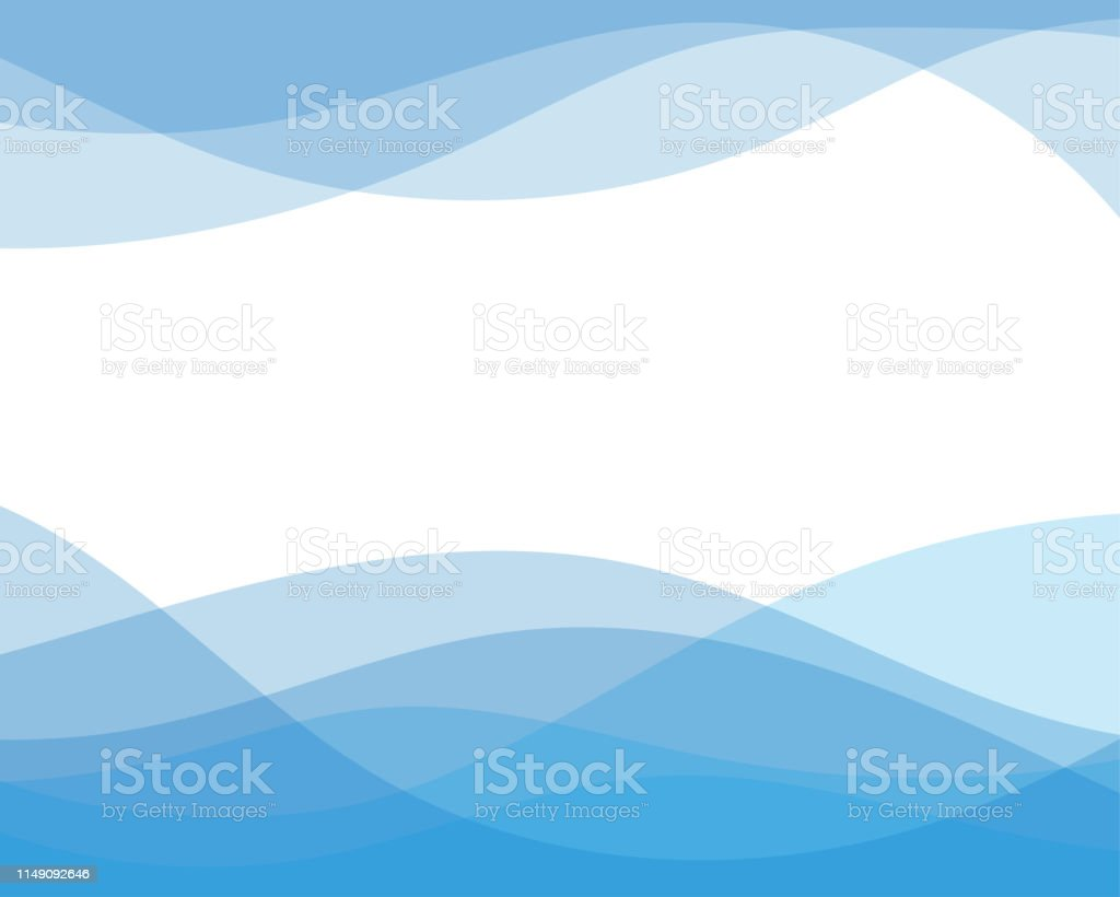 Blue line curve water wave abstract background in flat vector illustration design style. - Royalty-free Abstrato arte vetorial