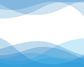 Blue line curve water wave abstract background in flat vector illustration design style.