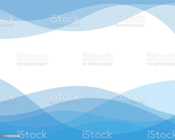 Blue Line Curve Water Wave Abstract Background In Flat Vector Illustration Design Style - Arte vetorial de stock e mais imagens de Abstrato