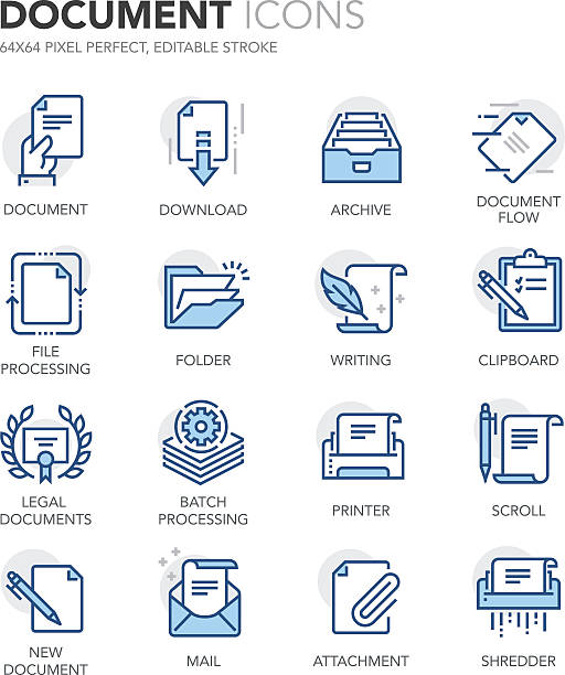 Blue Line Documents Icons Simple Set of Document Related Color Vector Line Icons. Contains such Icons as Batch Processing, Legal Documents, Clipboard, Download, Document Flow and more. Editable Stroke. 64x64 Pixel Perfect. form document stock illustrations