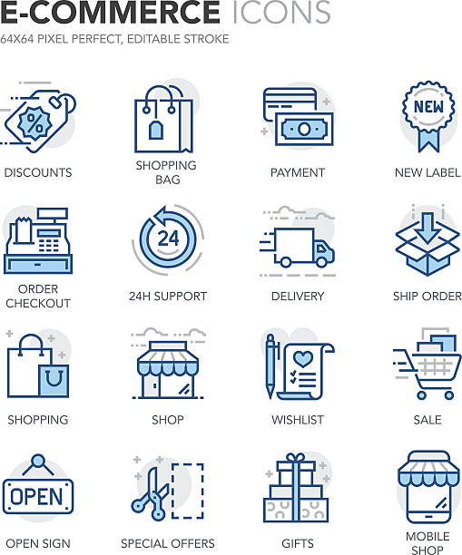 Blue Line E-Commerce Icons Simple Set of E-Commerce Related Color Vector Line Icons. Contains such Icons as Discounts, Shop, Mobile Shop, Special Offer, Sale, Shopping and more. Editable Stroke. 64x64 Pixel Perfect. conceptual symbol stock illustrations