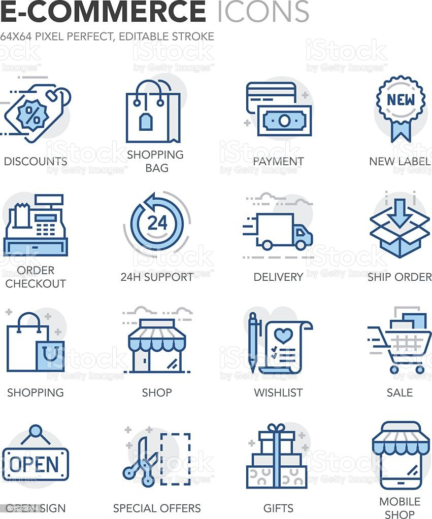 Blue Line E-Commerce Icons vector art illustration