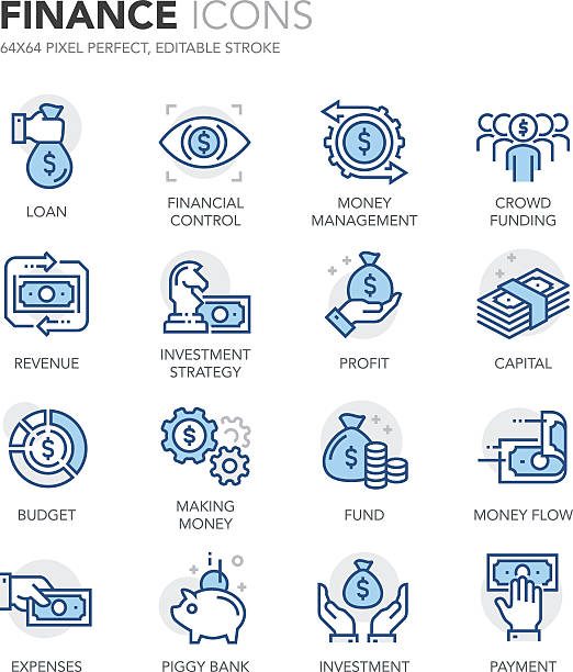 Blue Line Finance Icons Simple Set of Finance Related Color Vector Line Icons. Contains such Icons as and Crowd Funding, Capital, Money Flow, Money Management, Investment Strategy more. Editable Stroke. 64x64 Pixel Perfect. banking patterns stock illustrations