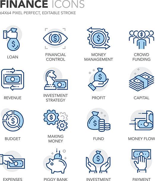 blue line finance icons - rich 幅插畫檔、美工圖案、卡通及圖標