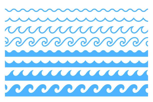 niebieska linia wzór ornament fali oceanu - fala woda stock illustrations