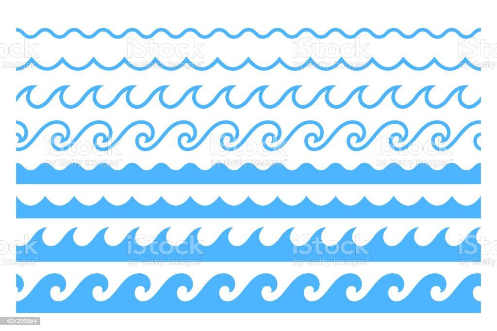Blue line ocean wave ornament pattern ベクターアートイラスト