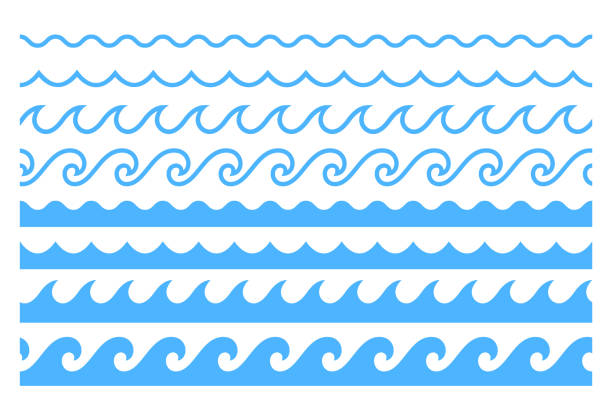 stockillustraties, clipart, cartoons en iconen met blue line ocean wave ornament pattern - golfpatroon
