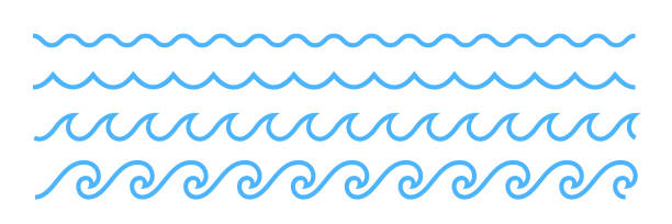 Blue line ocean wave ornament pattern Blue line ocean wave ornament. Seamless vector marine decoration pattern background squiggle stock illustrations