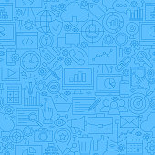 SEO Blue Line Seamless Pattern. Vector Illustration of Outline Tile Background. Web Development.