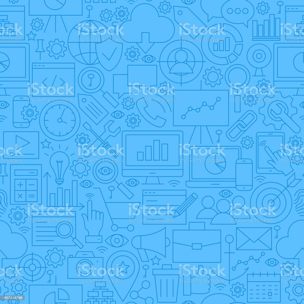 SEO Blue Line Seamless Pattern vector art illustration
