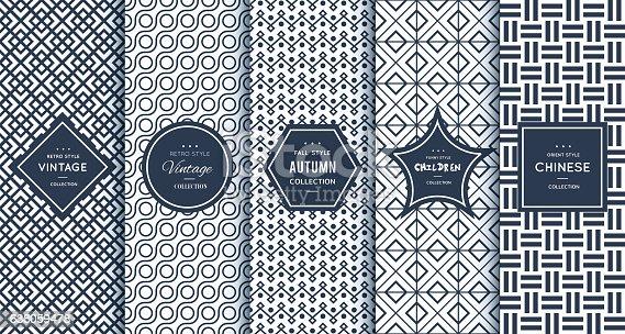 Blue line seamless pattern background. Vector illustration for elegant design. Abstract geometric photo frame. Stylish decorative bright label set. Fashion universal pattern.