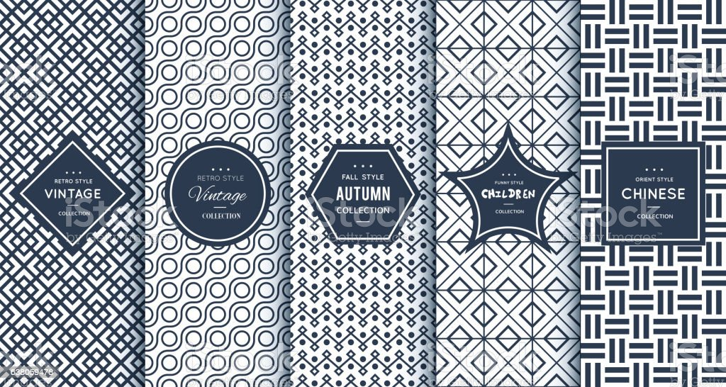 Blue line seamless patterns for universal background - ilustración de arte vectorial