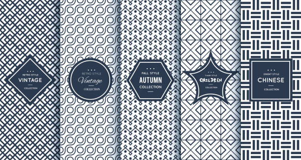 blue line seamless patterns for universal background - fashion backgrounds stock illustrations, clip art, cartoons, & icons