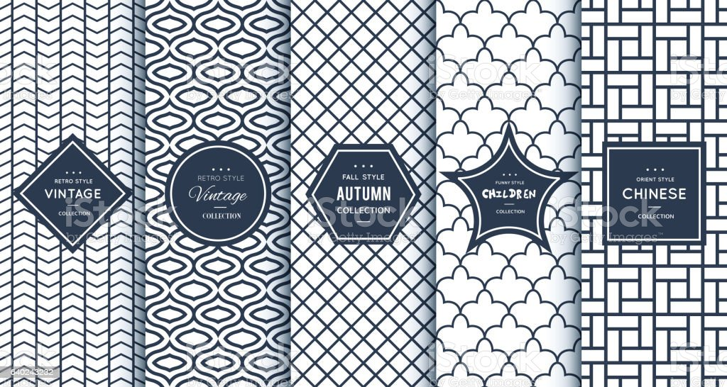 Blue line seamless patterns for universal background vector art illustration