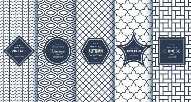 Blue line seamless patterns for universal background vector art illustration