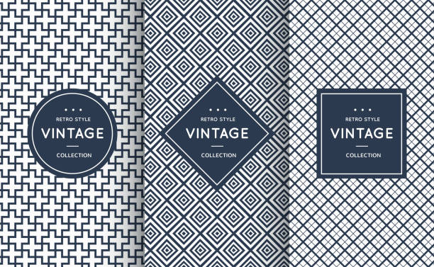 blue line seamless patterns for universal background - geometric border stock illustrations, clip art, cartoons, & icons