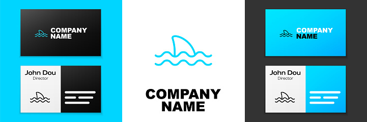 Blue line Shark fin in ocean wave icon isolated on white background. Logo design template element. Vector