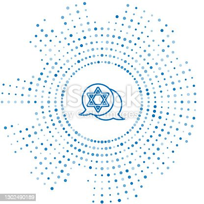 istock Blue line Star of David icon isolated on white background. Jewish religion symbol. Symbol of Israel. Abstract circle random dots. Vector 1302490189