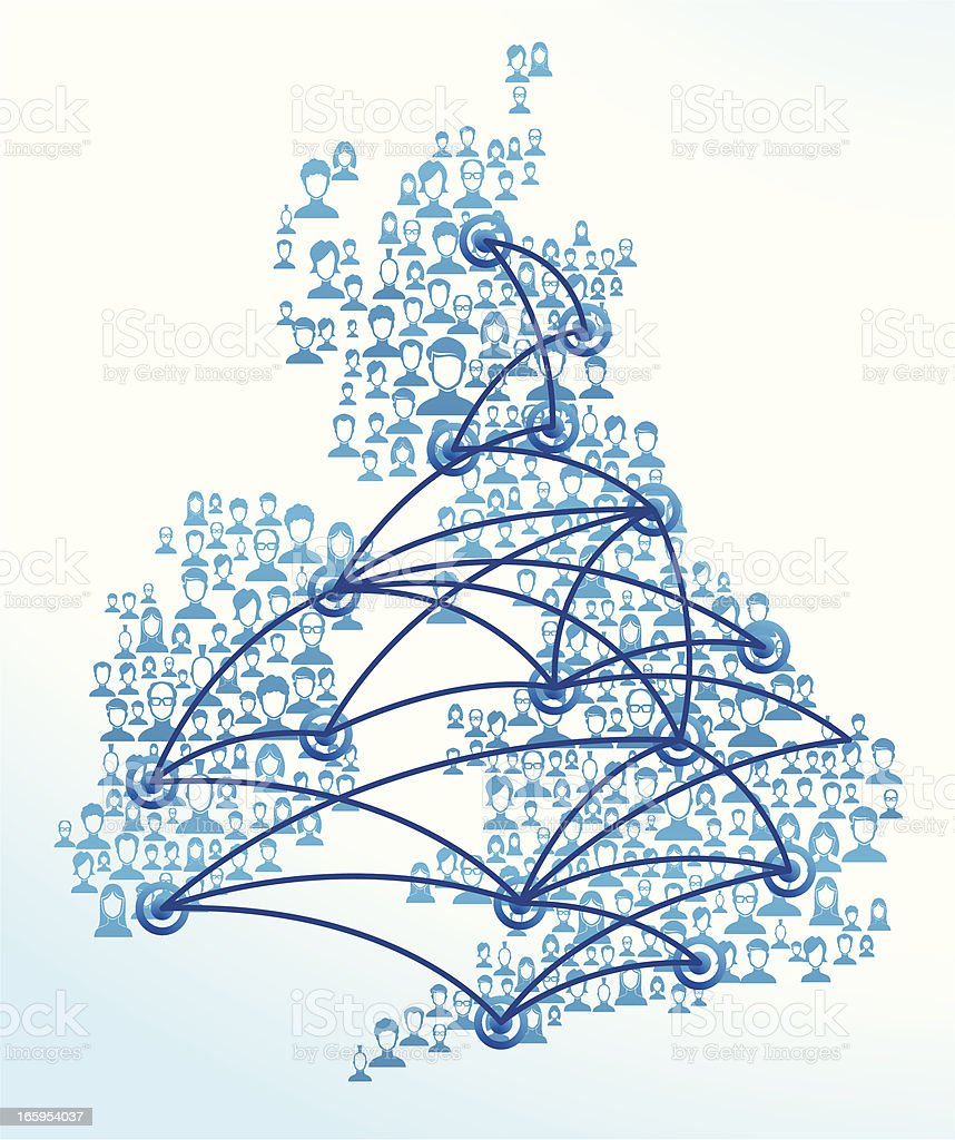 Blue lines and faces of network users in Great Britain  royalty-free stock vector art