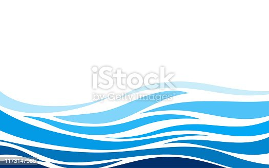 Blue lines layer wave concept design vector abstract background flat style