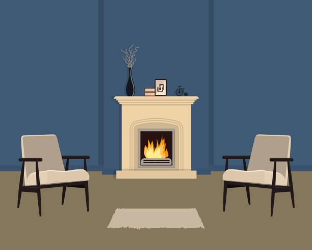 ilustrações de stock, clip art, desenhos animados e ícones de blue living room with fireplace - braseiro