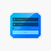 blue login form template design in vector style