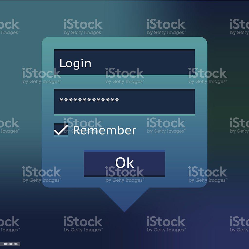Blue login form royalty-free stock vector art