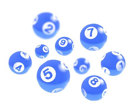 Blue Lottery Bingo Balls Isolated on White Background