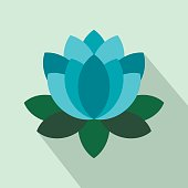 Blue lotus flower icon in flat style on a light blue background