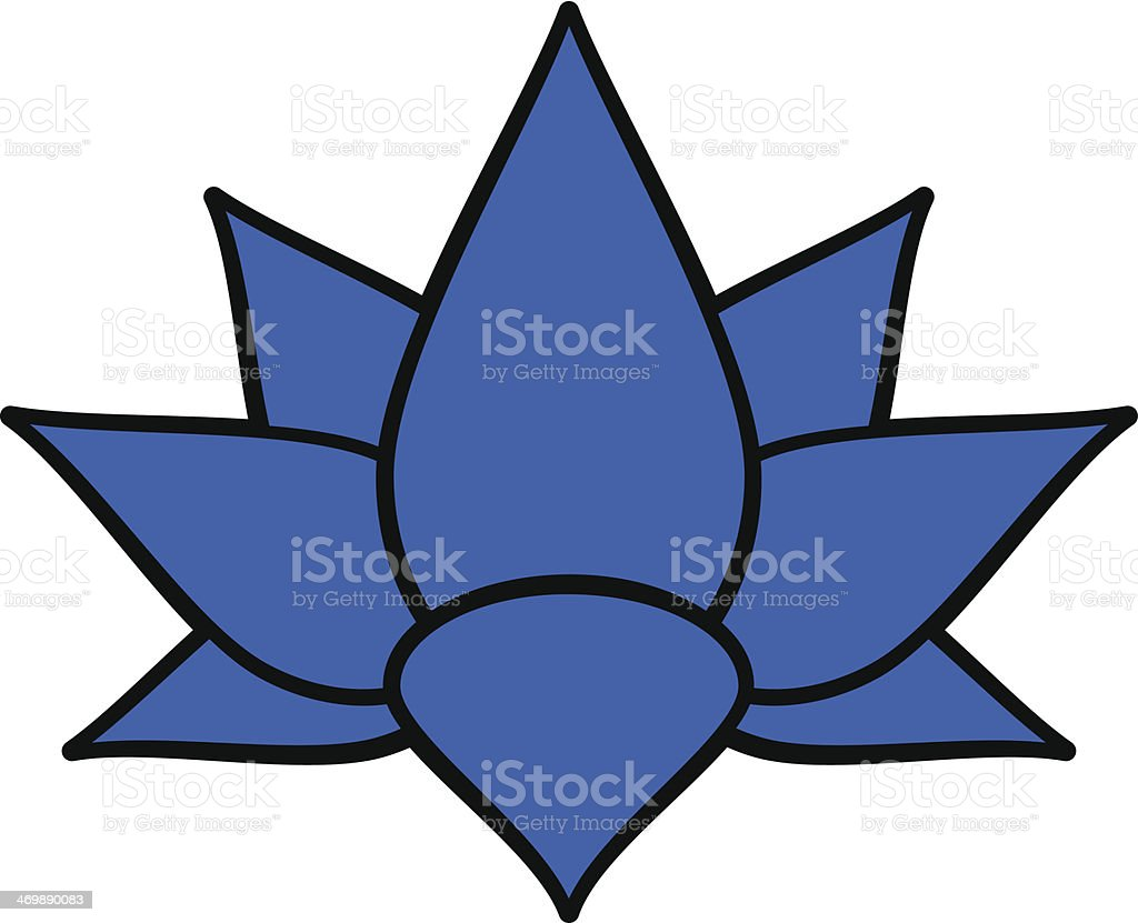 Blue Lotus Flower Stock Vector Art More Images Of Blue 469890083