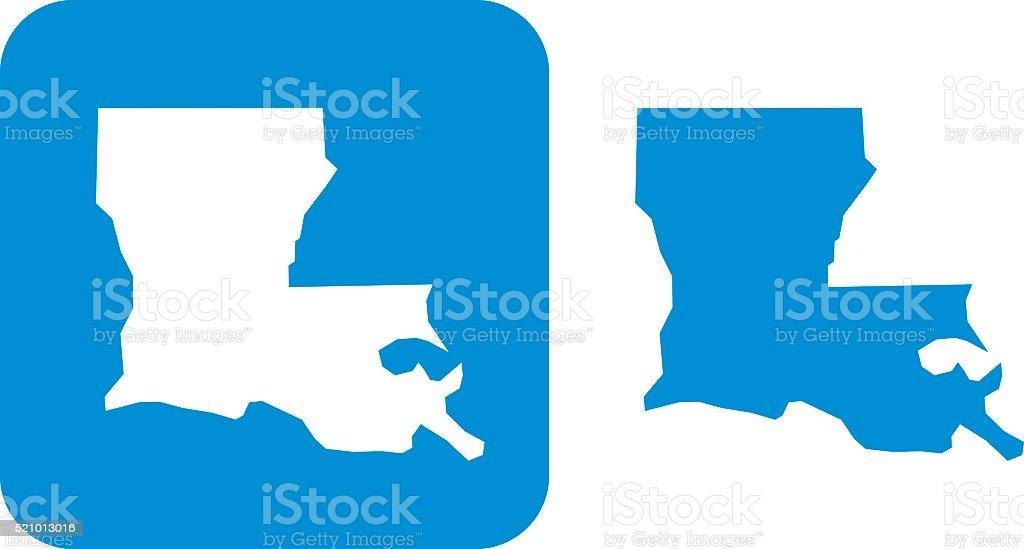 Blue Louisiana Icons vector art illustration