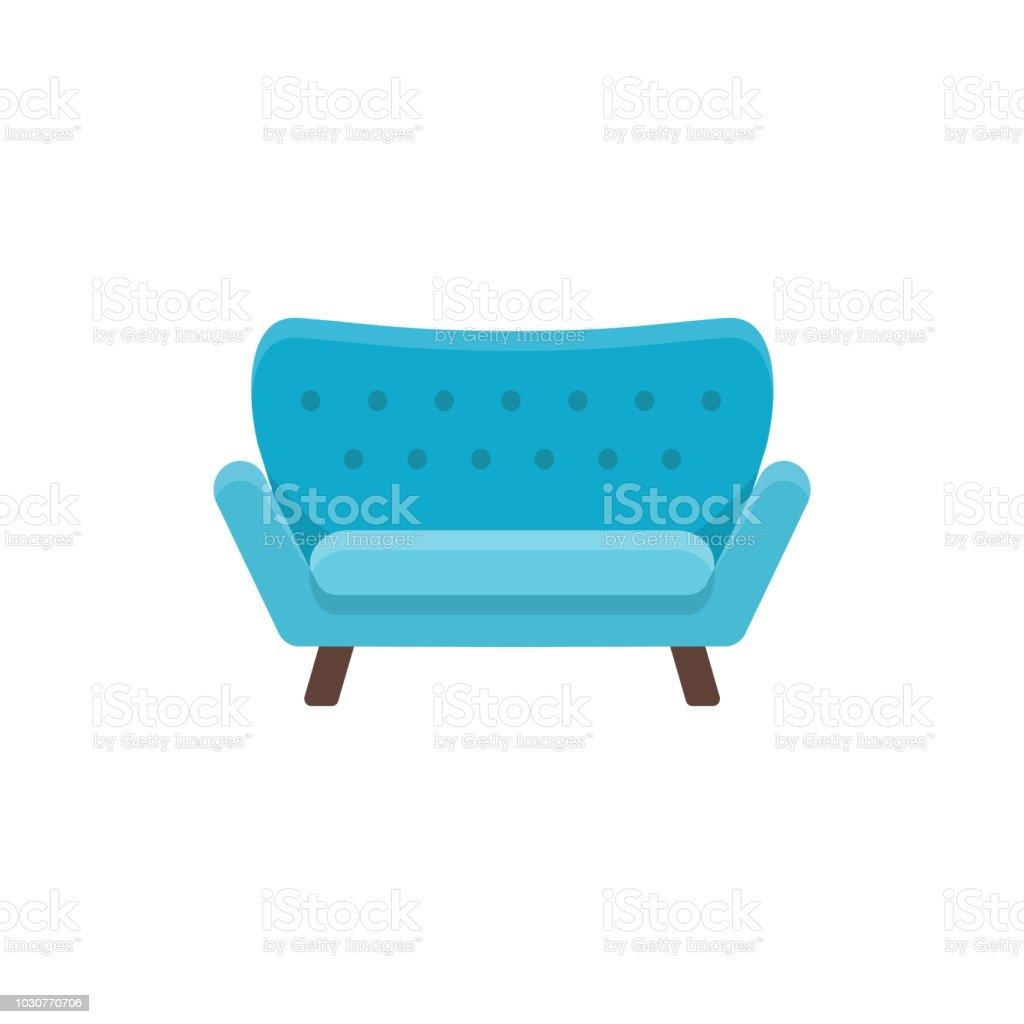 Blaues Sofa. Doppel Schlafsofa. Vektor Illustration. Flache Sofa Symbol.