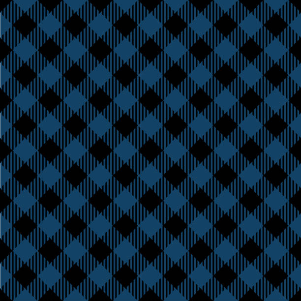 blue lumberjack argyle pattern - flannel backgrounds stock illustrations, clip art, cartoons, & icons
