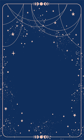 Blue magic background card with stars and space decor with copy space. Natal chart for astrology, tarot, predictions. Boho vector illustration, vintage style