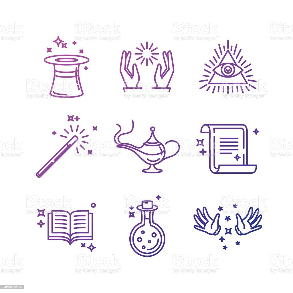 Blue magic icons with white background vector art illustration