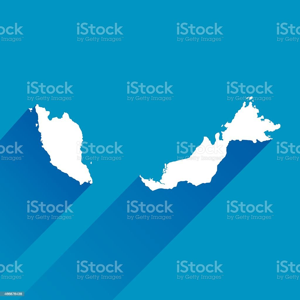 Blue Malaysia Map Icon vector art illustration