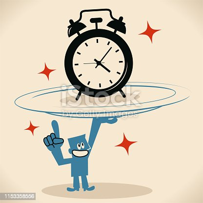 Blue Little Guy Characters Full Length Vector art illustration. Blue man carrying a huge plate with a big alarm clock.